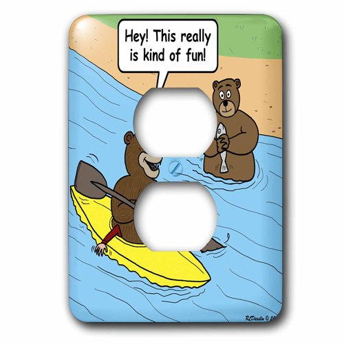 3dRose Bears Kayaking, 2 Plug Outlet Cover