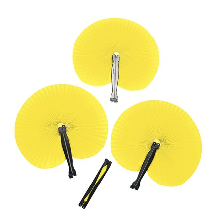 Fun Express - Yellow Paper Fans (12pc) - Party Supplies - Favors - Fans - 12 Pieces - Polar Express Party Supplies