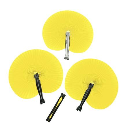 Fun Express - Yellow Paper Fans (12pc) - Party Supplies - Favors - Fans - 12 Pieces (Party Fans)