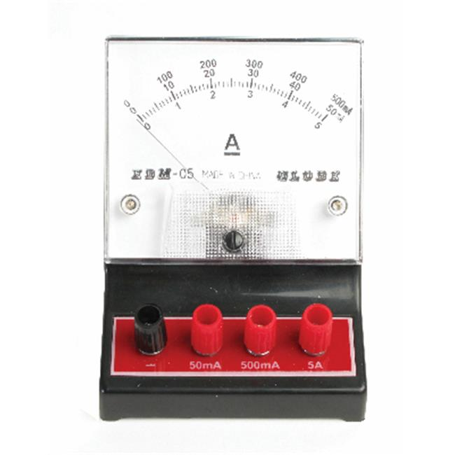 American Educational Products 7-1309-13 Dc Ammeter, Red, 0-50Ma, 0-500Ma, 0-5A
