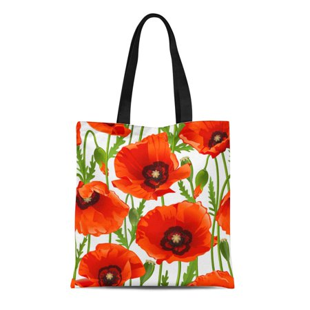 Pattern Silk Handbag (ASHLEIGH Canvas Tote Bag Green Pattern Poppy Red Flower Vintage Abstract Beautiful Beauty Reusable Shoulder Grocery Shopping Bags)