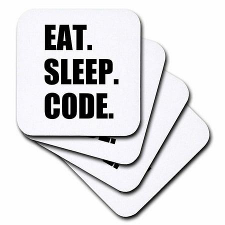 3dRose Eat Sleep Code - computer coder. Programmer. love to program. Coding, Soft Coasters, set of 8