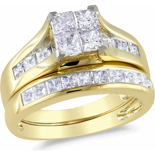 Miabella 2 Carat T.W. Princess-Cut Diamond 14kt Yellow Gold Bridal Set