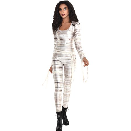 City Of Campbell Halloween (Party City Mummy Catsuit Halloween Costume for Women, White,)
