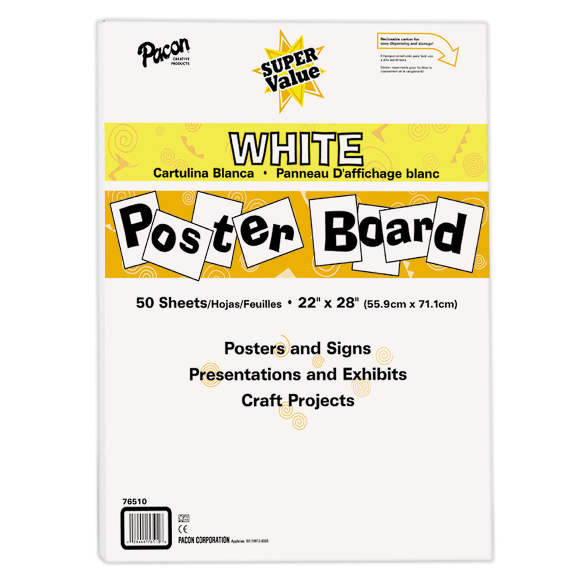 """Pacon® Super Value Poster Board, 22"""" x 28"""", White, 50 Sheets"""