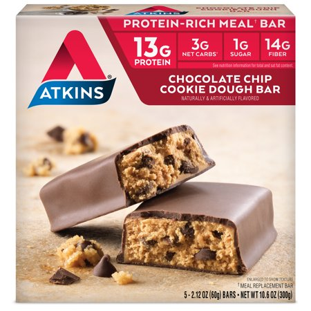 Atkins Protein-Rich Meal Bar, Chocolate Chip Cookie Dough, Keto Friendly, 5 Count (Cookie Dough Freezer Holder)