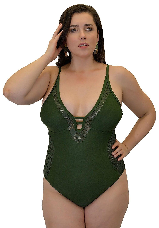 Yacht & Smith Plus Size Womens Swimsuit, Fashion One Piece Bathing Suit Tank (Olive Crochet, 1X)