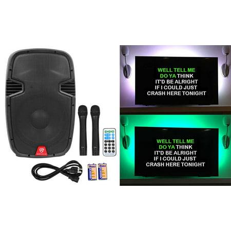 Rockville 12   Portable Karaoke Machine System W   2  Wireless Microphones Leds