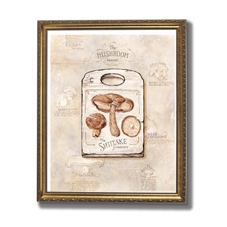 Mushrooms Kitchen Cafe Contemporary Wall Picture Gold Framed Art Print