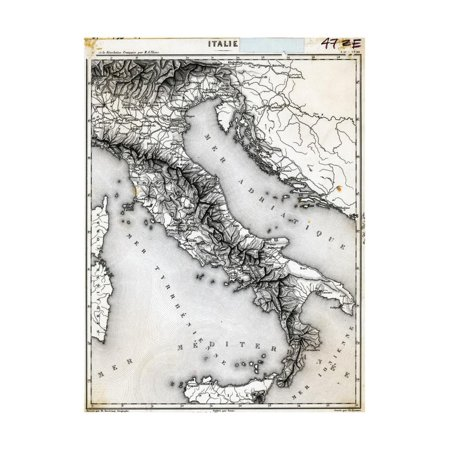 Map of Italy Undated Engraving Print Wall - Engraved Map