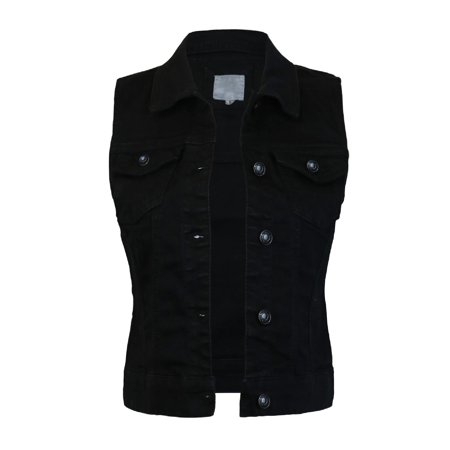 Made by Olivia Women's Sleeveless Button up Jean Denim Jacket Vest Black M