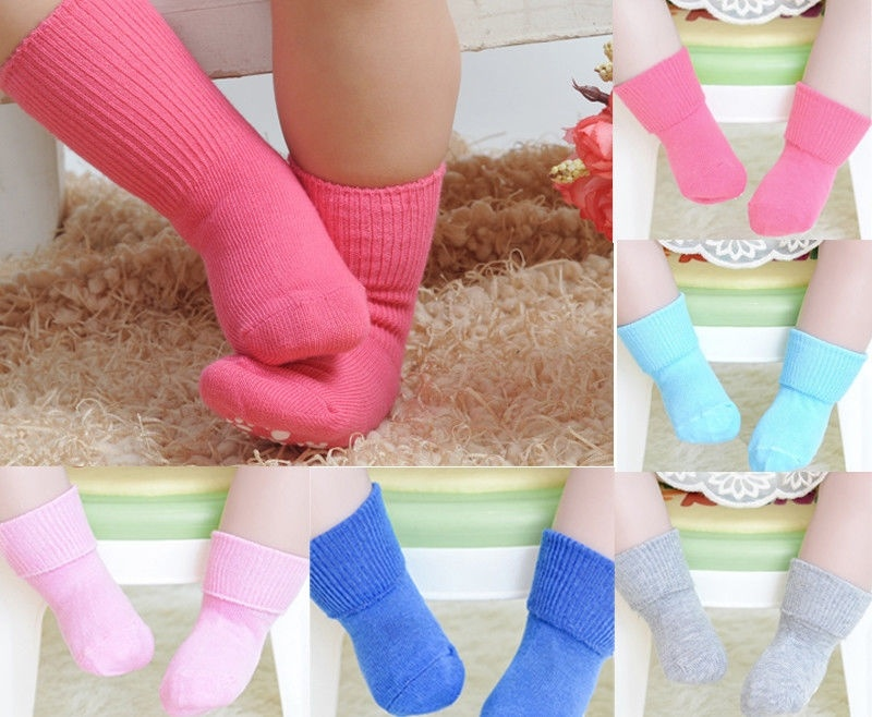 Candy Color Cotton Kids Socks Soft Anti Slip Socks Baby Boys Girls Socks New