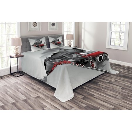 Steam Engine Bedspread Set, Locomotive Red Black Train on Steel Railway Track Travel Adventure Graphic Print, Decorative Quilted Coverlet Set with Pillow Shams Included, Red Grey, by