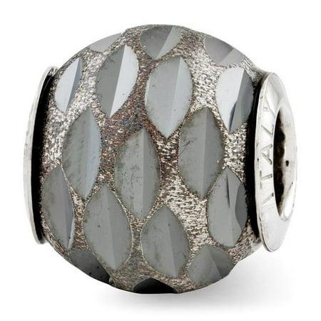 Reflection Beads QRS2821 Sterling Silver Velvet Black Diamond Cut Bead - Polished & Antiqued - image 1 de 1