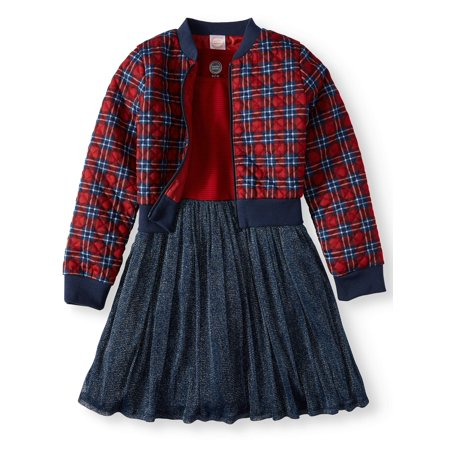 Dress and Quilted Plaid Bomber Jacket, 2-Piece Outfit Set (Little Girls & Big Girls)