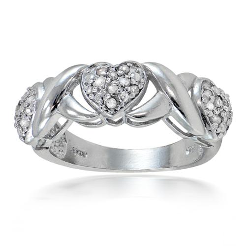 DB Designs  1/4ct TDW Diamond Heart and X Ring