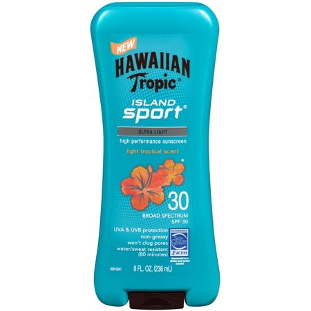 Hawaiian Tropic Island Sport Ultra Light High Performance Suncreen Lotion, Light Tropical Scent SPF 30 8 oz (Pack of 3)