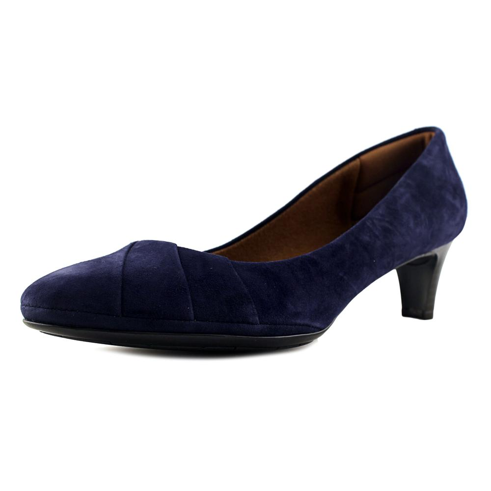 Click here to buy Eurosoft by Sofft Tellis Women Round Toe Suede Blue Heels by Eurosoft by Sofft.