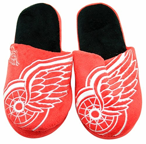 NHL Detroit Red Wings Men's Team Logo Slippers Extra Large (13-14)