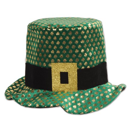 St Patricks Day Plush Gold Shamrock Sequin Costume Hat Green Gold Black 23