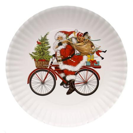 tabletop santa on bike plate melamine christmas dinner platter me0318