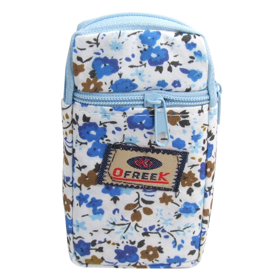Blue Floral Detail Elastic Band Cellphone Holder Wrist Bag - image 1 de 1