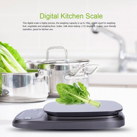 WALFRONT Digital Scale, Electronic Scale,LCD Digital Electronic 10kg/1g Kitchen Food Scale Stainless Steel Tray for Baking Cooking - image 9 of 10