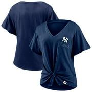 New York Yankees Fanatics Branded Women's Sport Resort Script Washed Tie Front V-Neck T-Shirt - Navy