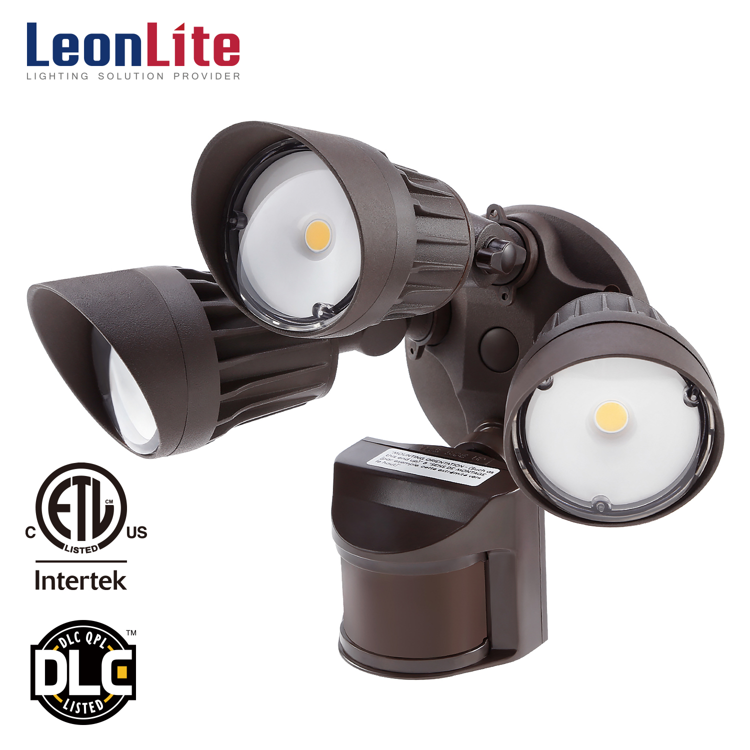 LEONLITE 3-Head Motion Activated LED Outdoor Security Light, 30W LED Flood Light, Green Monday, 3000K Warm White, Bronze