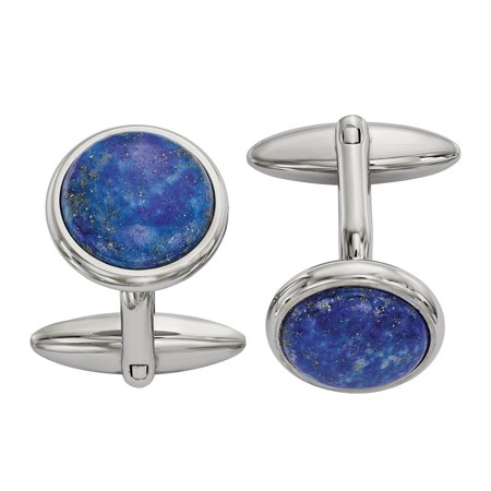 - Stainless Steel Polished Lapis Cuff Links