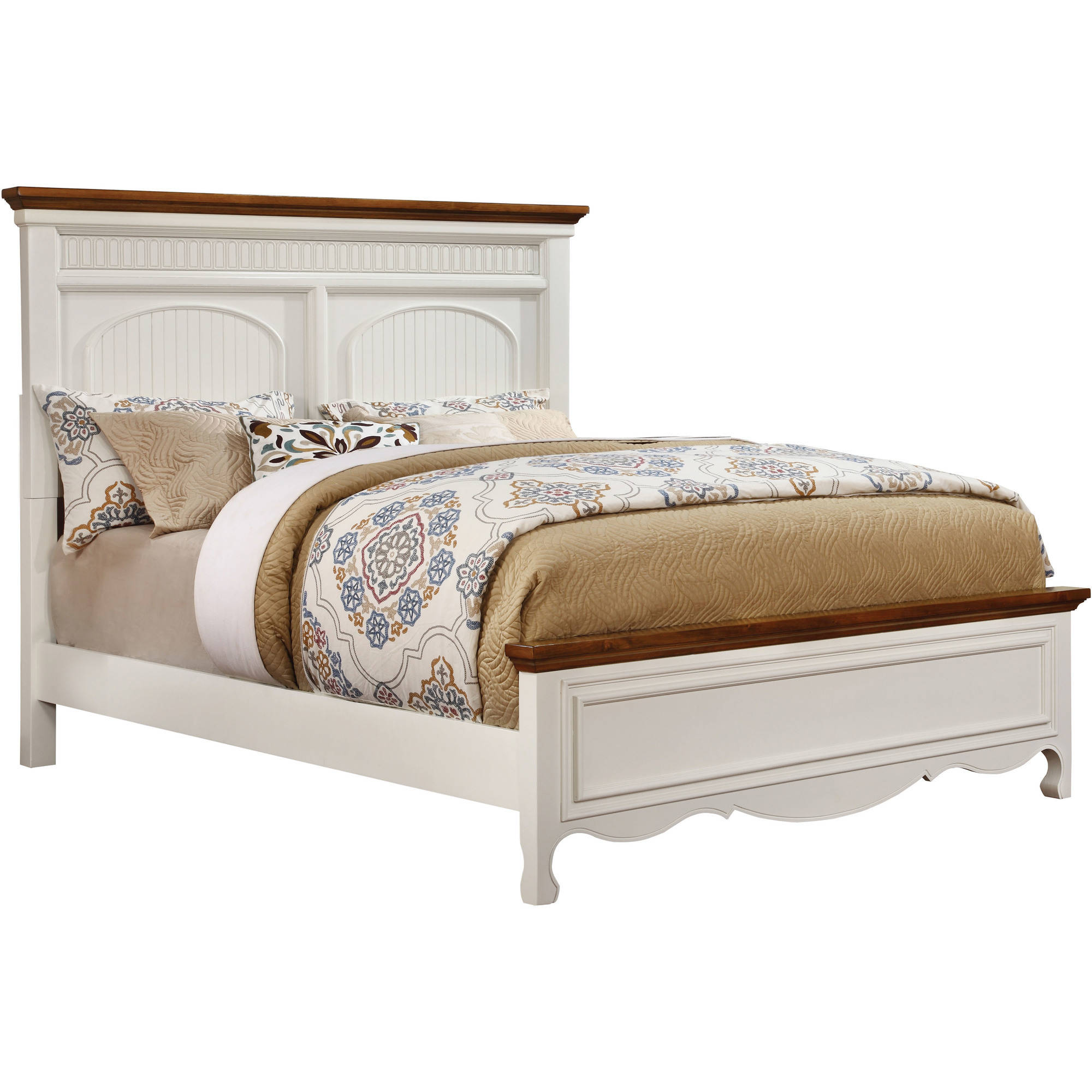 Furniture of America Dolly Cottage Style California King Bed Set, White & Oak