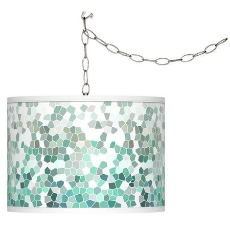 Aqua Mosaic Giclee Glow Plug-In Swag Pendant ()