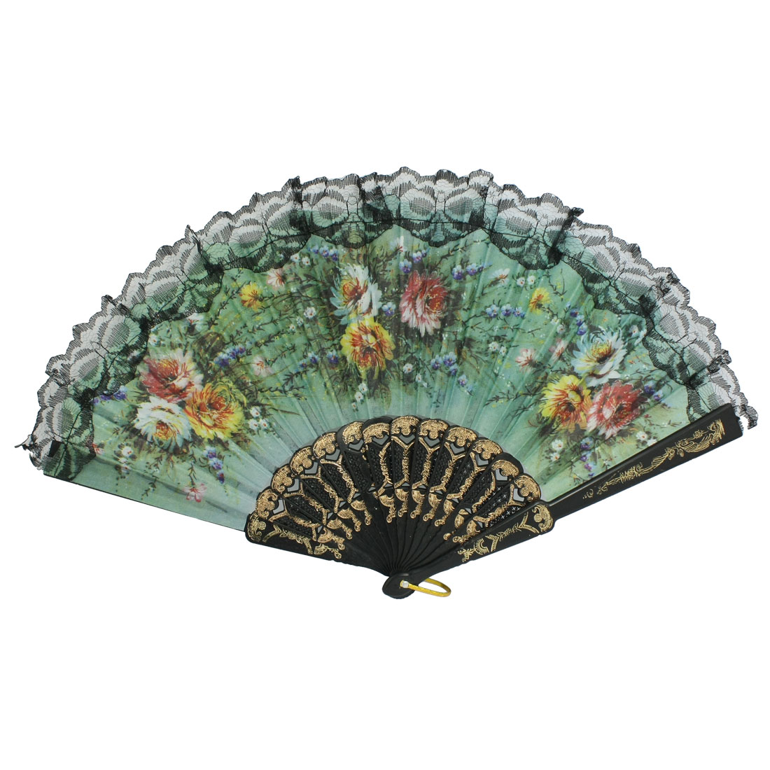 Chrysanthemum Print Rib Lace Trim Dancing Hand Fan Black Green with D Ring