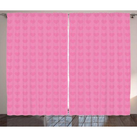 Pink Curtains 2 Panels Set, Small Heart Shapes Valentines Day Love and Feelings Concept Pattern for Romantic Couples, Window Drapes for Living Room Bedroom, 108W X 96L Inches, Pink, by