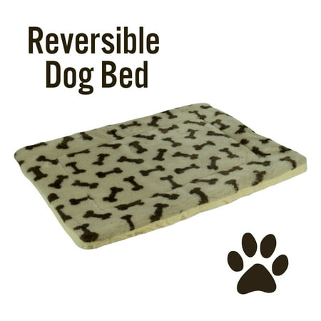 "Pet Bed Mat Reversible Bone Print Fleece and Sherpa Crate Pad Dog Cat 23"" x 18"", Tan and Brown"