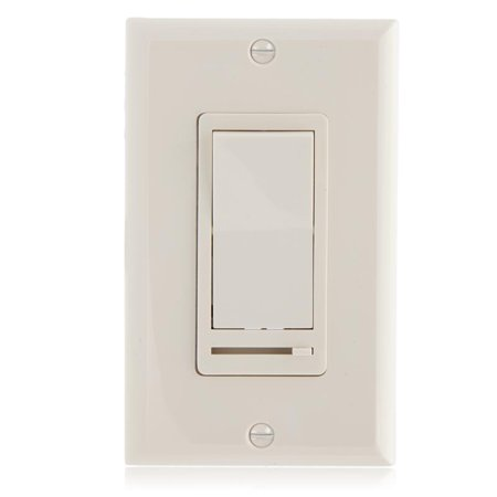 Maxxima 3-Way / Single Pole Decorative LED Dimmer Rocker Switch, 600 Watt, Wall Plate Included, Almond