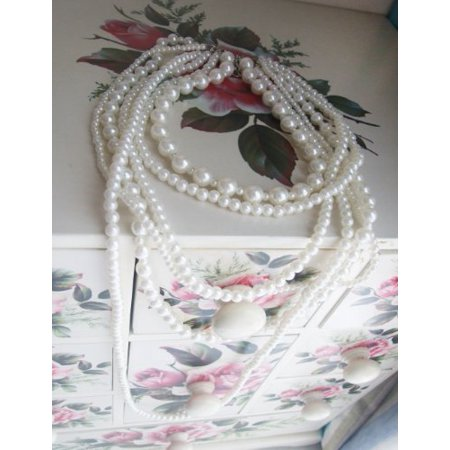 New Fashion Long 6 Row White Faux Pearls Necklace 35