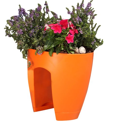 Greenbo Home and Garden Plastic Rail Planter (Set of 2)