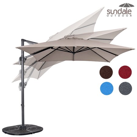 Sundale Outdoor 8.2ft Hanging Roma Offset Umbrella Outdoor Patio Sun Shade Cantilever Crank Canopy