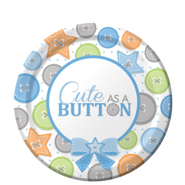 Cute as a Button Boy 7 inch Cake Plates (8 ct)