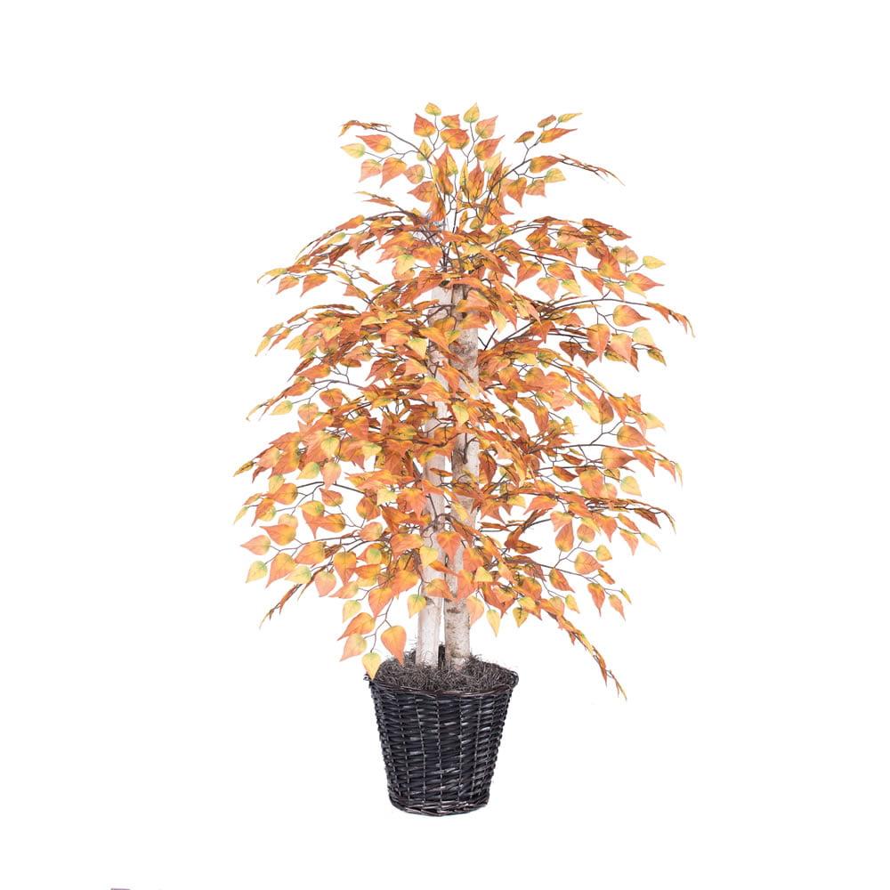 Vickerman 4' Golden Birch Bush in Decorative Rattan Basket