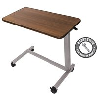 Vaunn Medical Adjustable Overbed Bedside Table with Wheels (Hospital and Home Use)
