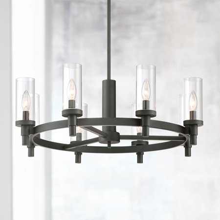 Possini Euro Design Black Wagon Wheel Chandelier 27 1/2