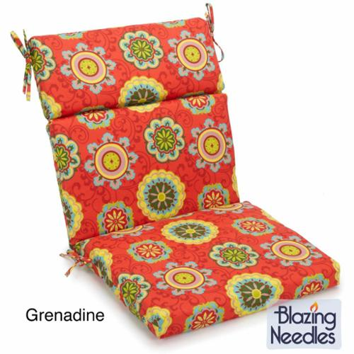 Blazing Needles 38-inch by 18-inch Patterned Outdoor Spun Poly Three-Section Back/Seat Chair Cushion Pike Azure (REO-35)