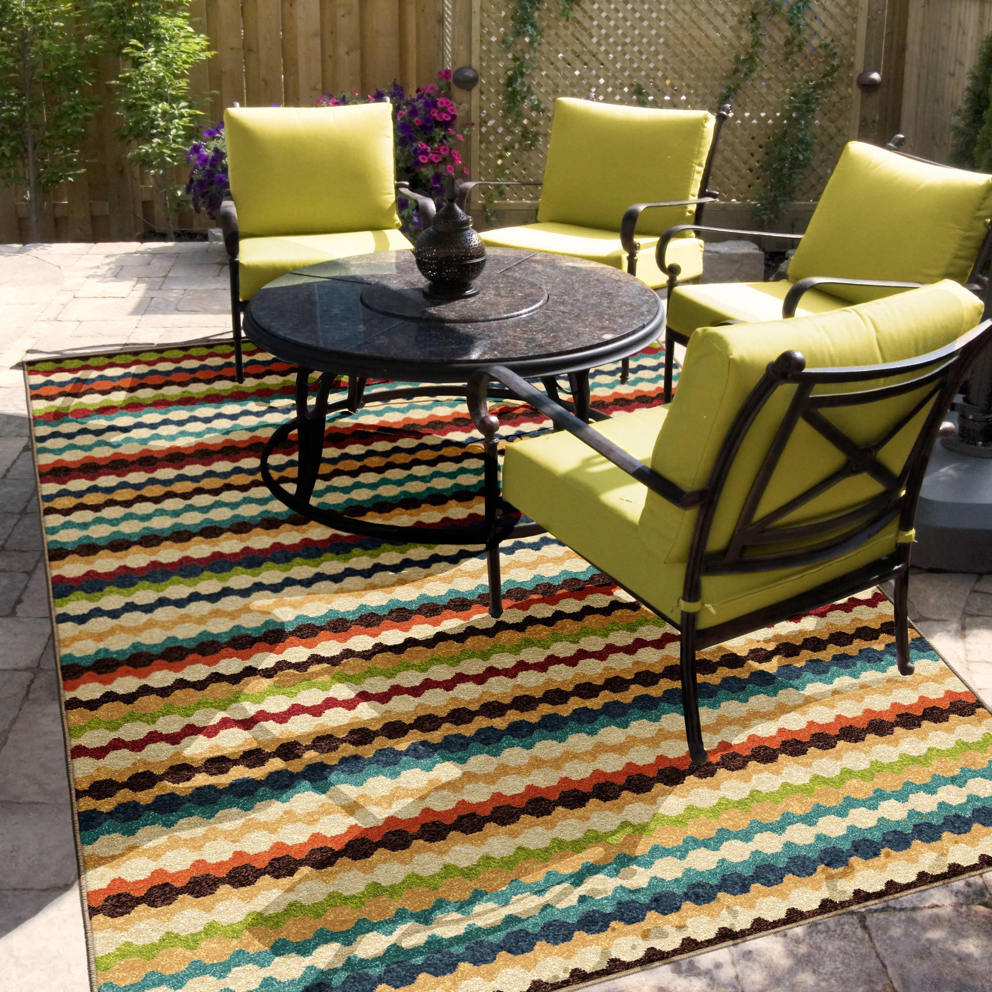 Orian Rugs Indoor Outdoor Nik Nak Multi Colored Area Rug or Runner