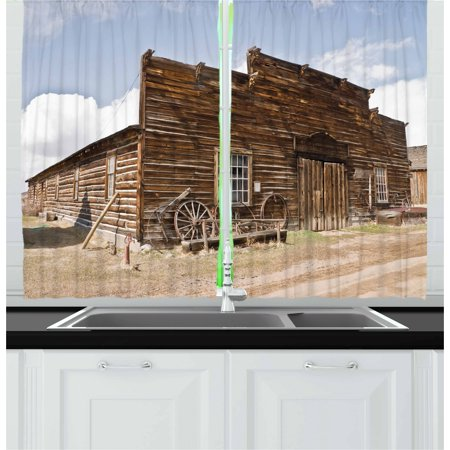 Panel Wagon - Barn Wood Wagon Wheel Curtains 2 Panels Set, Abandoned Mercantile with Wagon Wheels Ghost Town, Window Drapes for Living Room Bedroom, 55W X 39L Inches, Brown Sand Brown Pale Blue, by Ambesonne