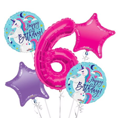 Numbers Kit Unicorn (Unicorn Balloon Bouquet 6th Birthday 5 pcs - Party Supplies, 1 Giant Number 6 Balloon, 34in By Viva Party )
