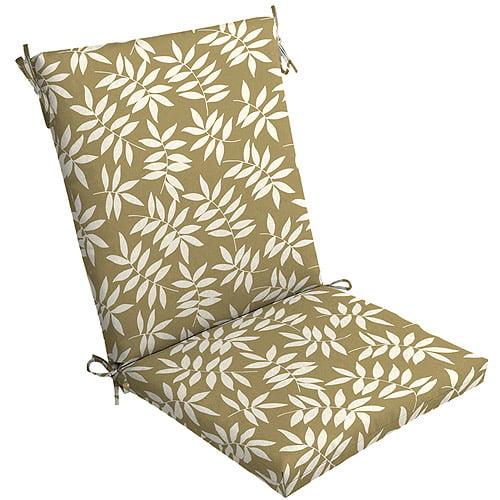 Mainstays Floral Outdoor Chair Cushion Tan Leaf Walmart