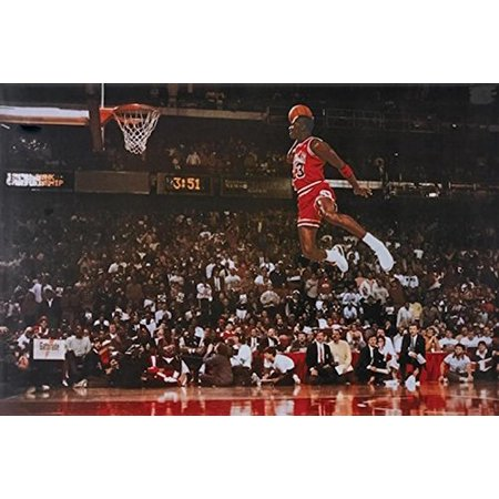 (Michael Jordan - Foul Line Dunk 36x24 Sports Art Print Poster NBA Chicago Bul...)