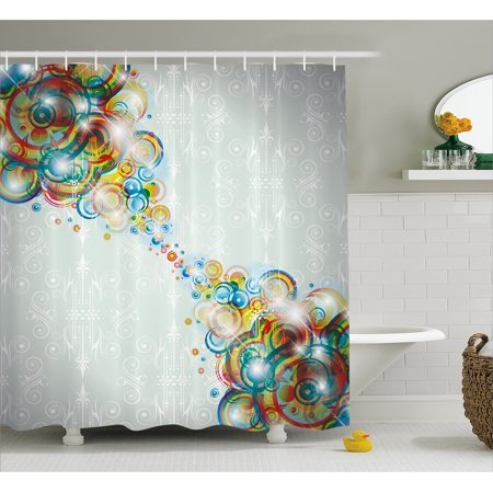 Abstract Decor Shower Curtain, Modern Rainbow Like Wavy Circled Bright Patterned Disco Themed Artwork, Fabric Bathroom Set with Hooks, 69W X 84L Inches Extra Long, Multi Colored, by Ambesonne